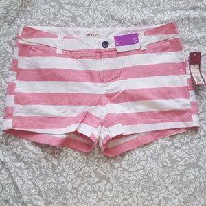 New Merona Pink Stripe Nautical Shorts Pockets